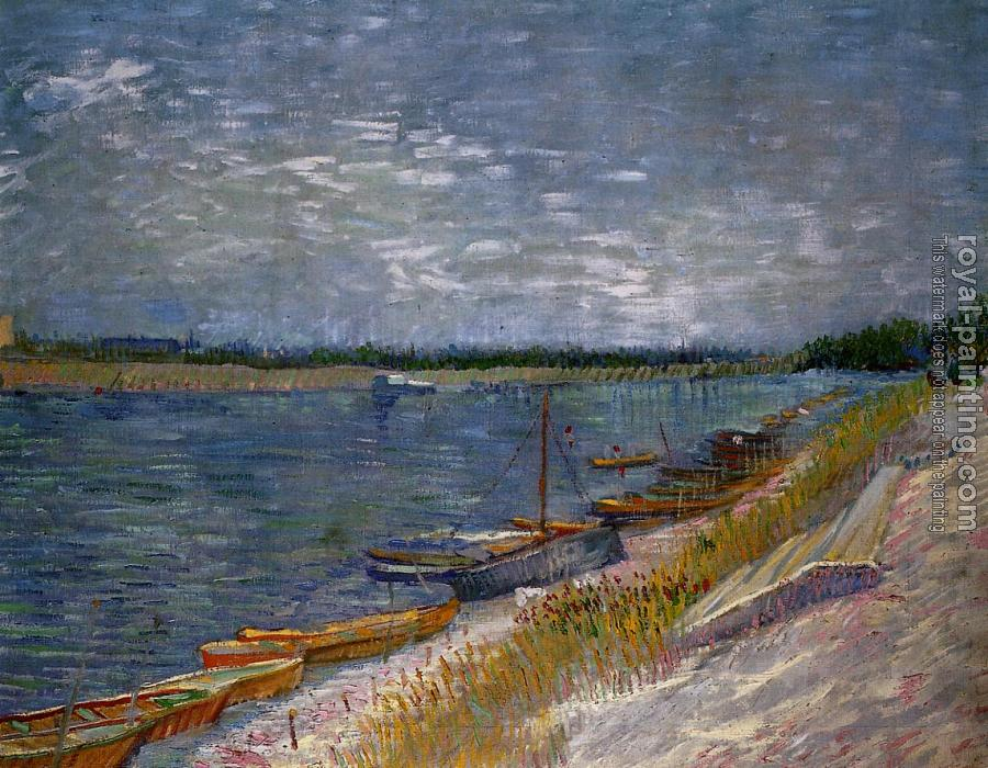Vincent Van Gogh : View of a River with Rowing Boats