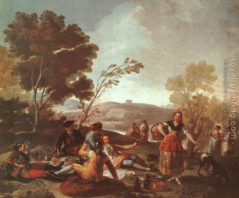 Francisco De Goya : Picnic on the Banks of the Manzanares