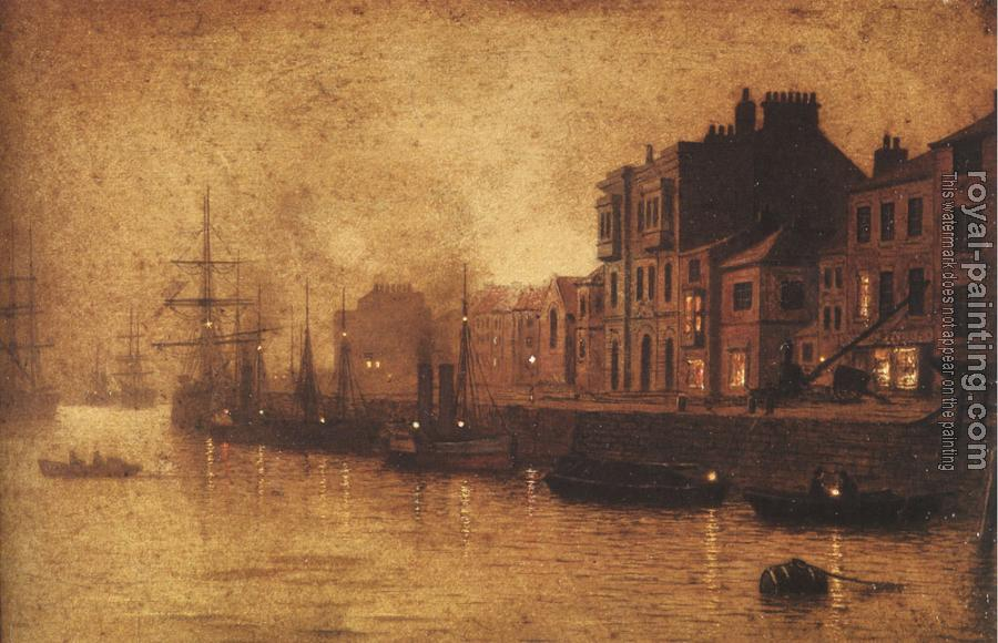 John Atkinson Grimshaw : Evening Whitby Harbour