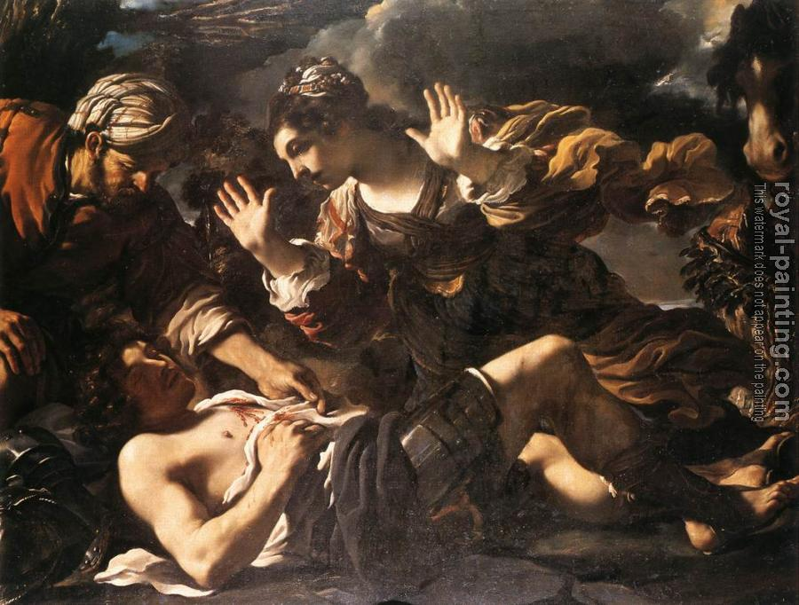Guercino : Ermina Finds the Wounded Tancred