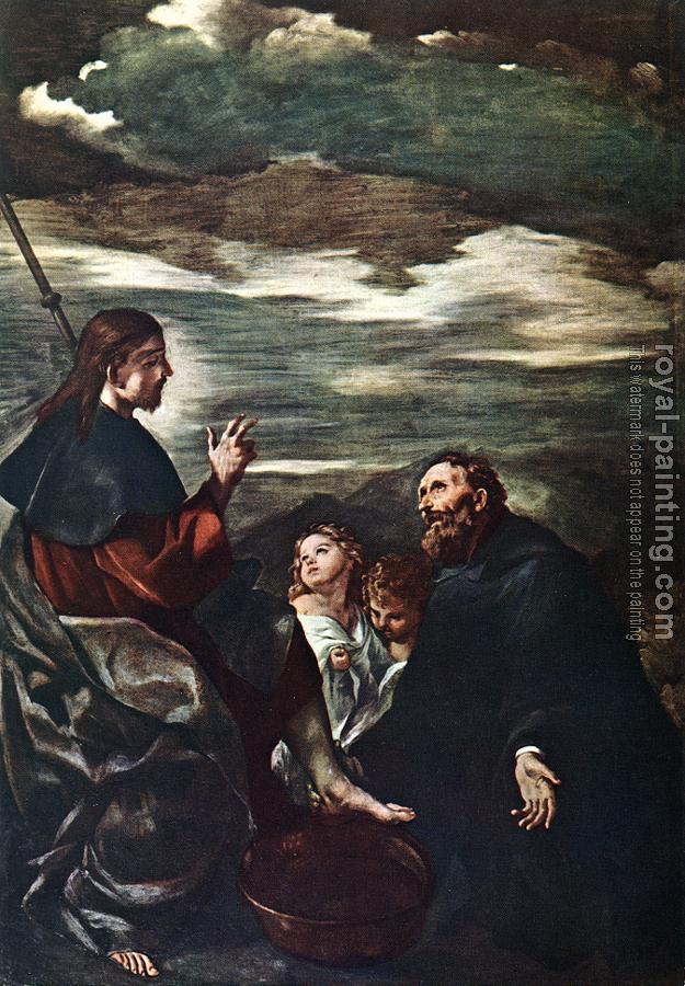 Guercino : St Augustine Washing the Feet of the Redeemer