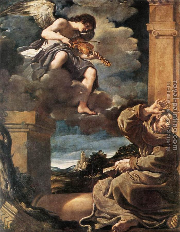 Guercino : St Francis with an Angel Playing Violin