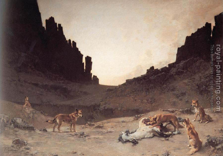 Gustave Guillaumet : Dogs of the Douar Devouring a Dead Horse