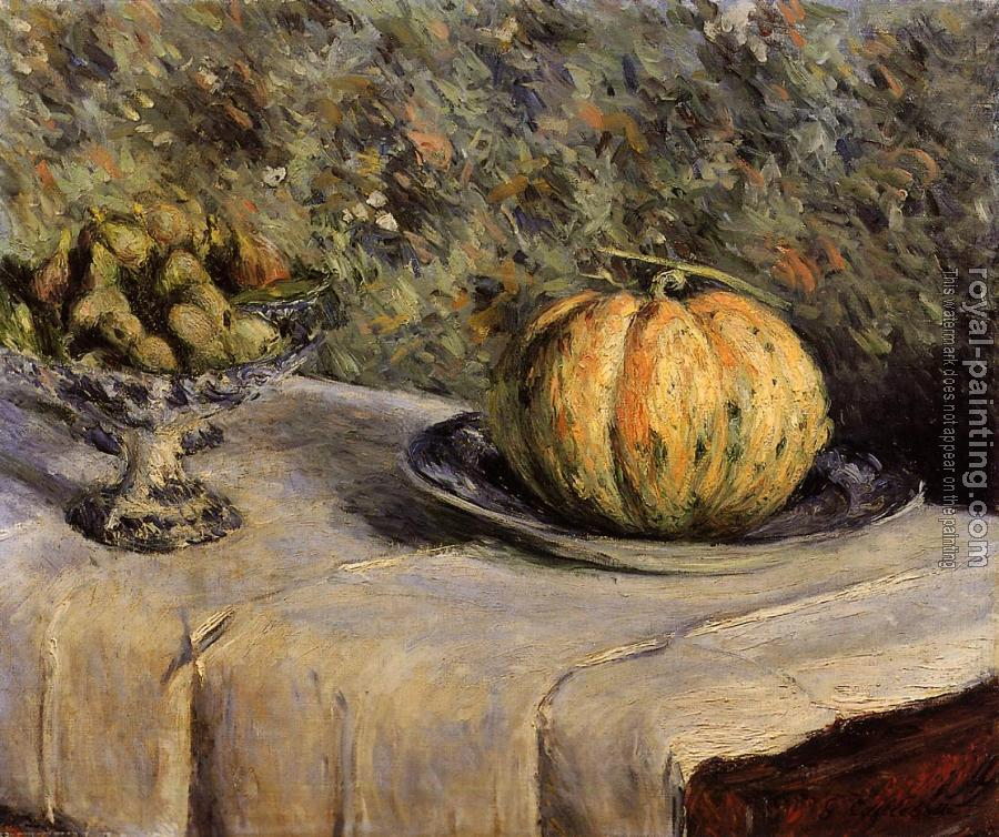 Gustave Caillebotte : Melon and Bowl of Figs Gustave Caillebotte