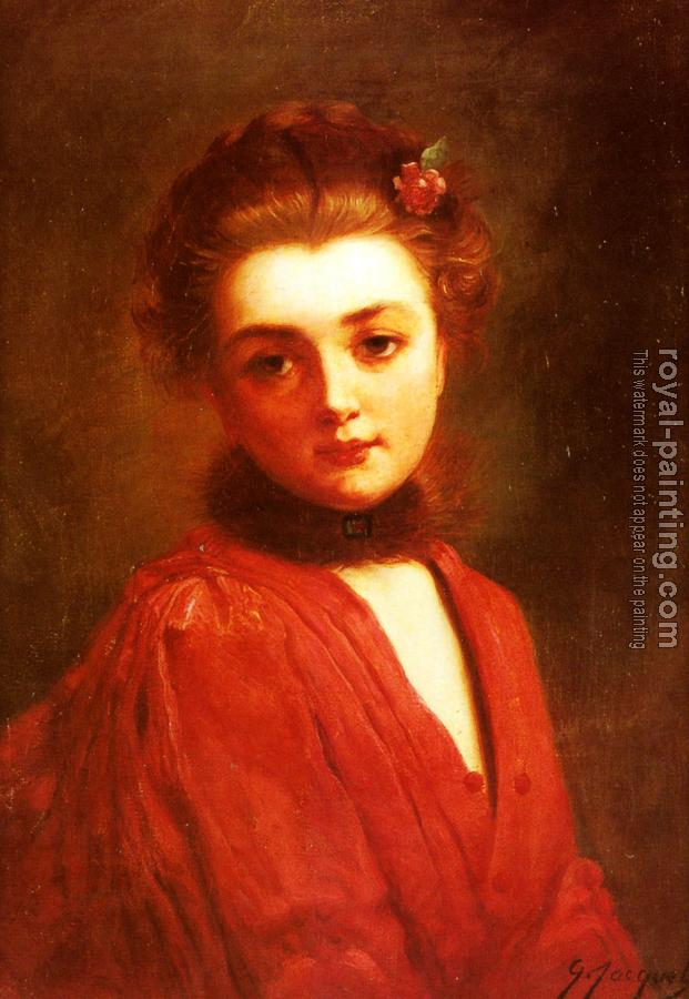 Gustave Jean Jacquet : Portrait Of A Girl In A Red Dress