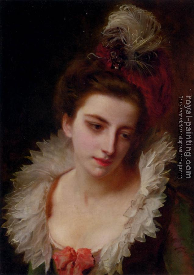 Gustave Jean Jacquet : Portrait Of A Lady With A Feathered Hat