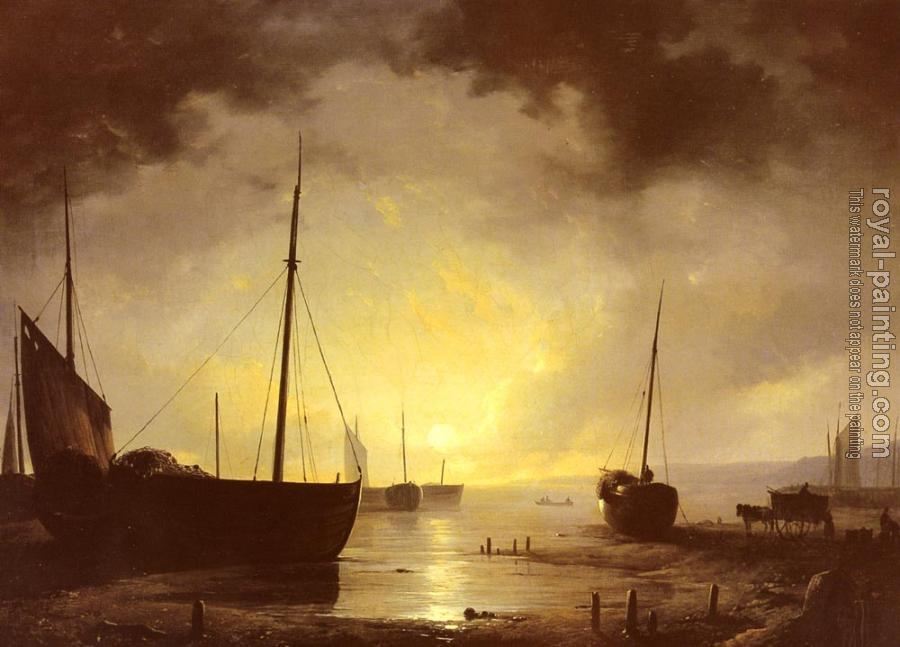 Remigius Van Haanen : Beached Fishing Boats by Moonlight
