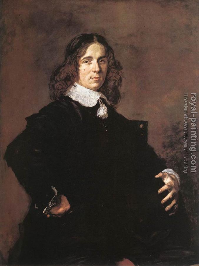 Frans Hals : Portrait Of A Seated Man Holding A Hat