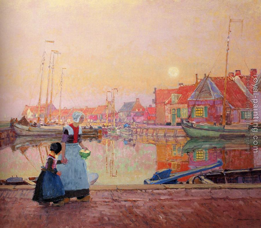 Hans Herrmann : A Dutch Fishing village At Dusk With Figures On A Quay