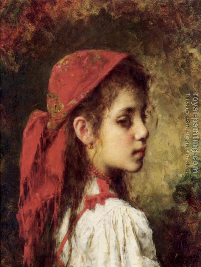 Alexei Alexeievich Harlamoff : Portrait of a Young Girl in a Red Kerchief