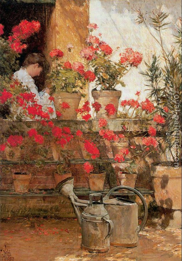 Childe Hassam : Geraniums