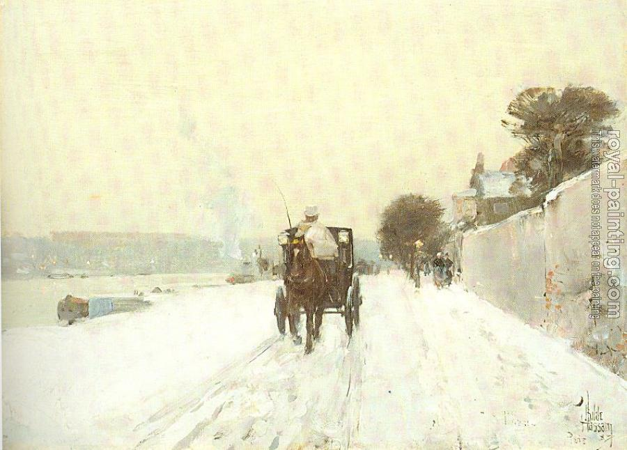 Childe Hassam : Along the Seine, Winter