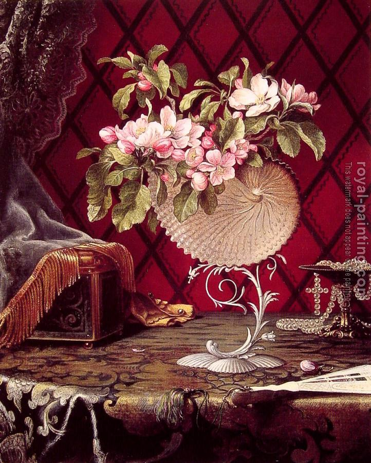 Martin Johnson Heade : Still Life with Apple Blossoms in a Nautilus Shell