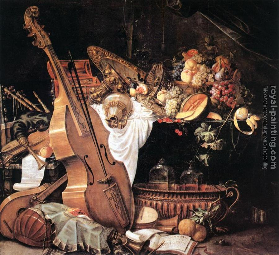 Cornelis De Heem : Vanitas Still-Life with Musical Instruments