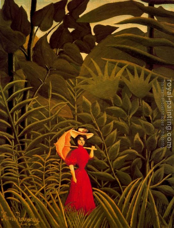 Henri Rousseau : Woman with an Umbrella in an Exotic Forest
