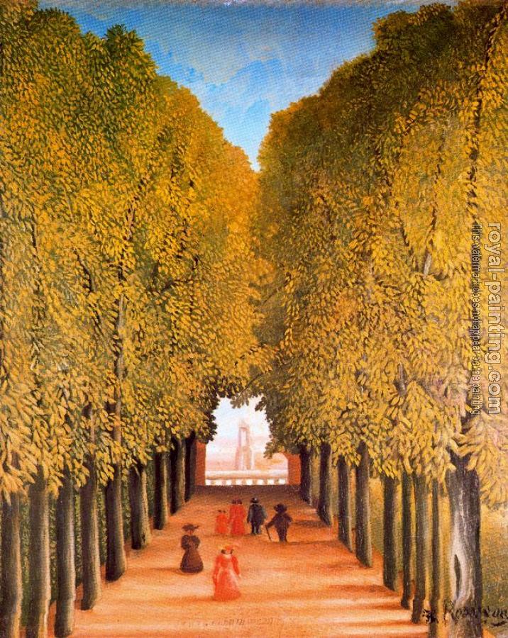 The avenue in the park at saint cloud by henri rousseau oil painting reproduction - Parking porte de saint cloud vinci park ...