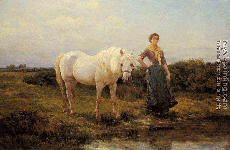 Heywood Hardy : Noonday taking a Horse to Water