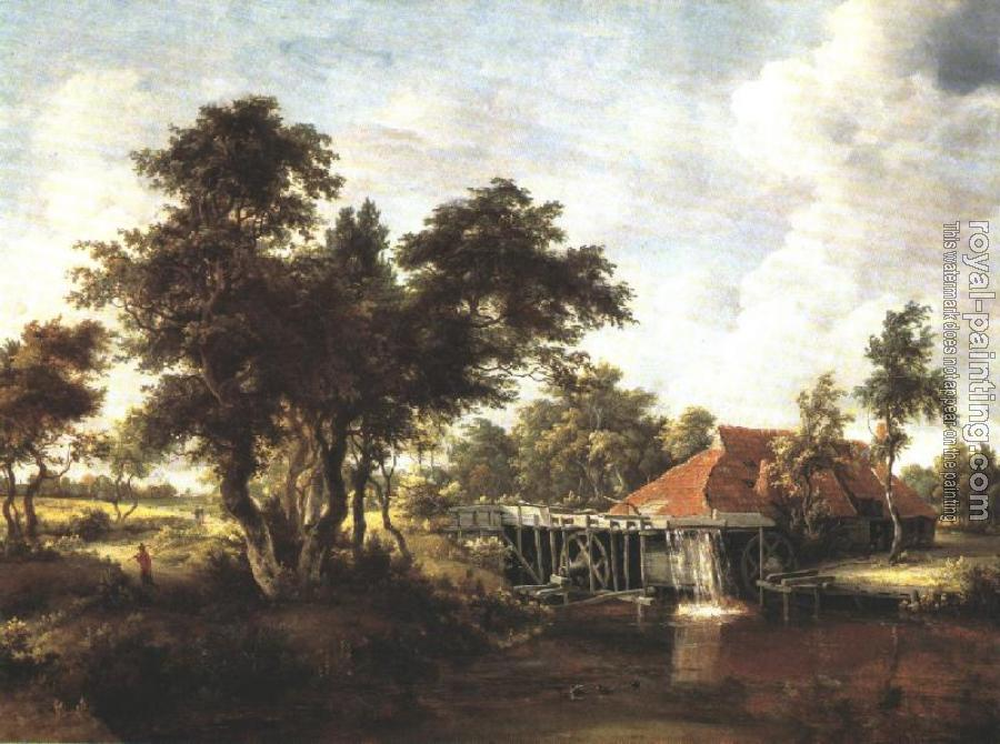 Meyndert Hobbema : Wooded Landscape with Water Mill