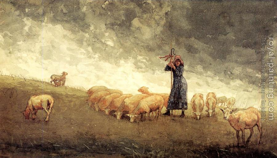 Winslow Homer : Shepherdess Tending Sheep