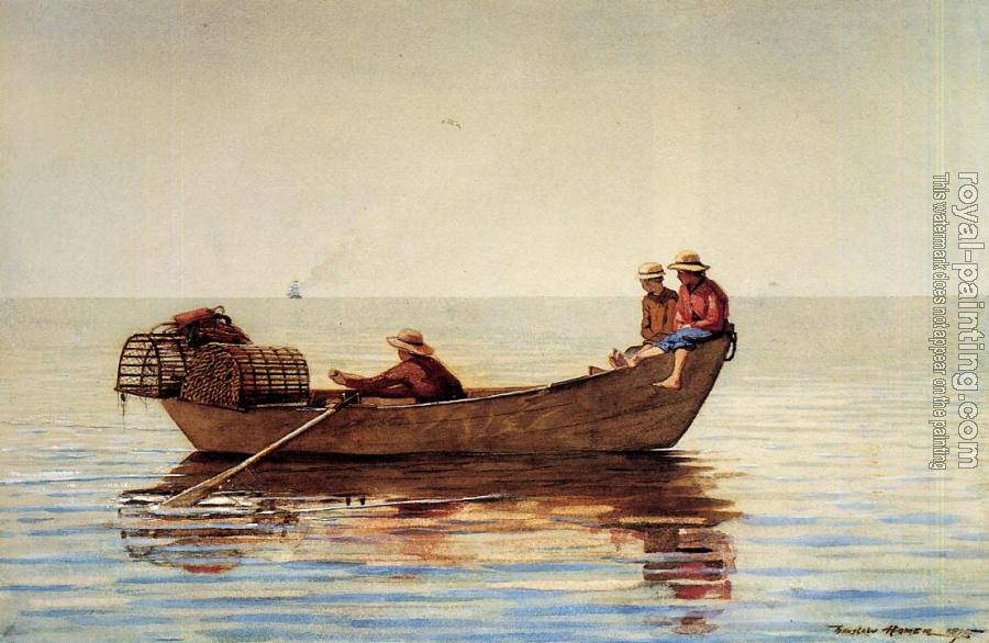 Winslow Homer : Three Boys in a Dory with Lobster Pots