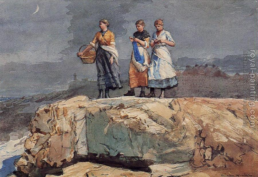 Winslow Homer : Where are the Boats aka On the Cliffs