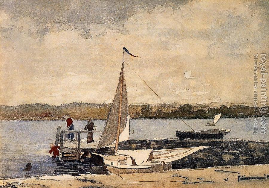 Winslow Homer : A Sloop at a Wharf, Gloucester