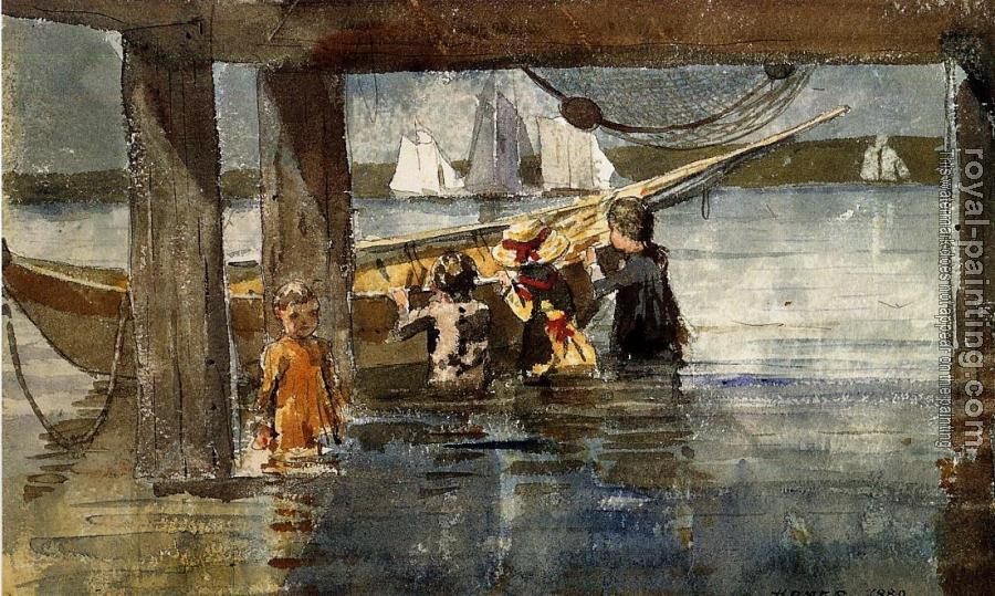 Winslow Homer : Childred Playing under a Gloucester Wharf
