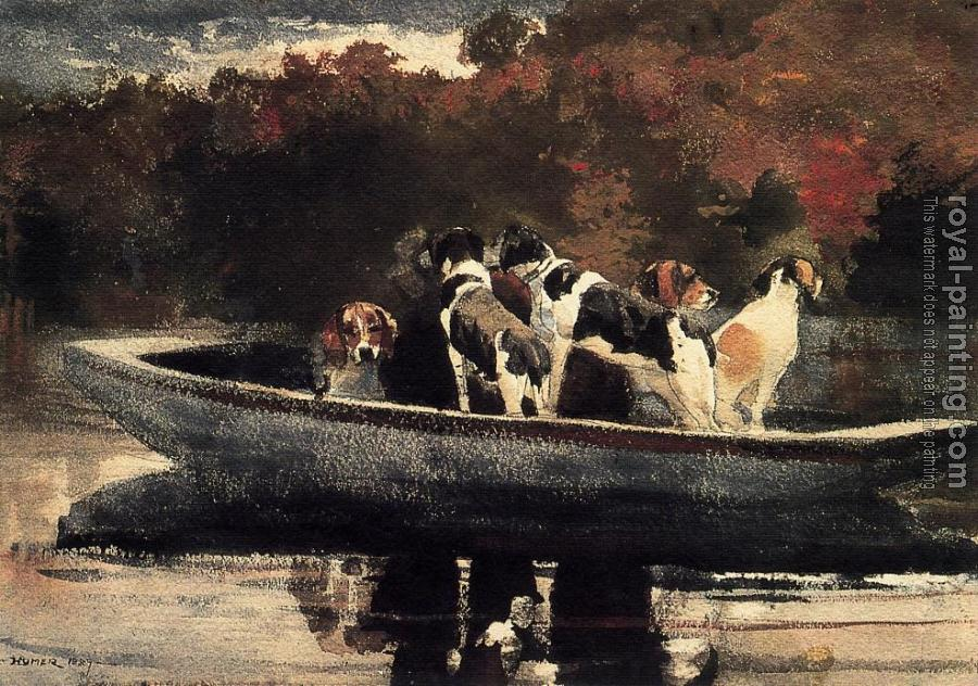 Winslow Homer : Dogs in a Boat