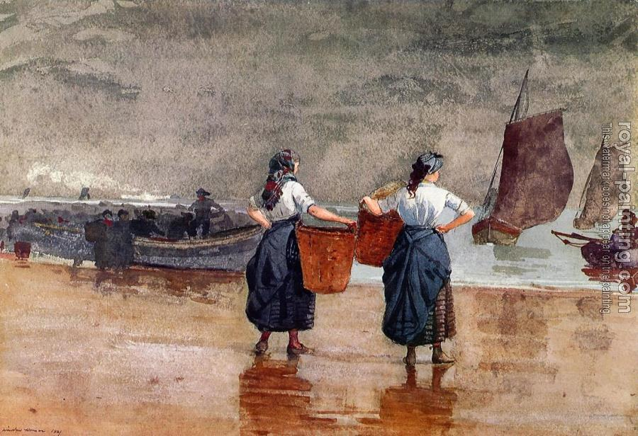 Winslow Homer : Fishergirls on the Beach, Tynemouth