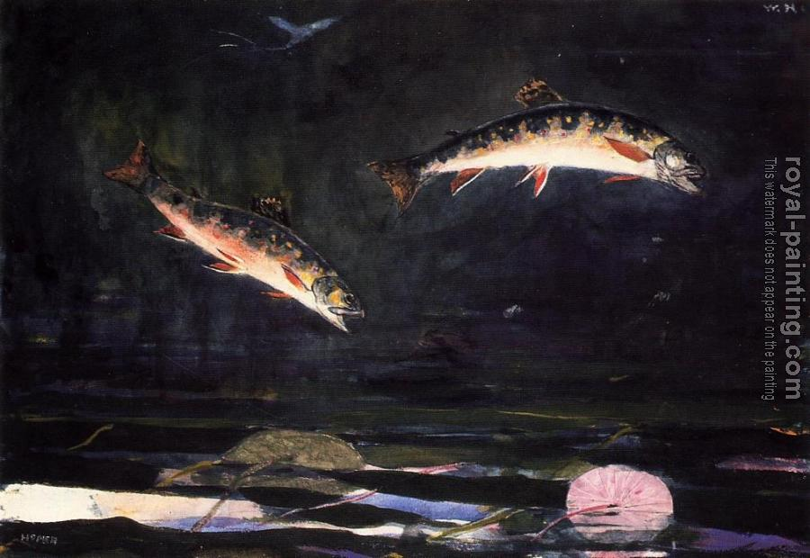 Winslow Homer : Leaping Trout II