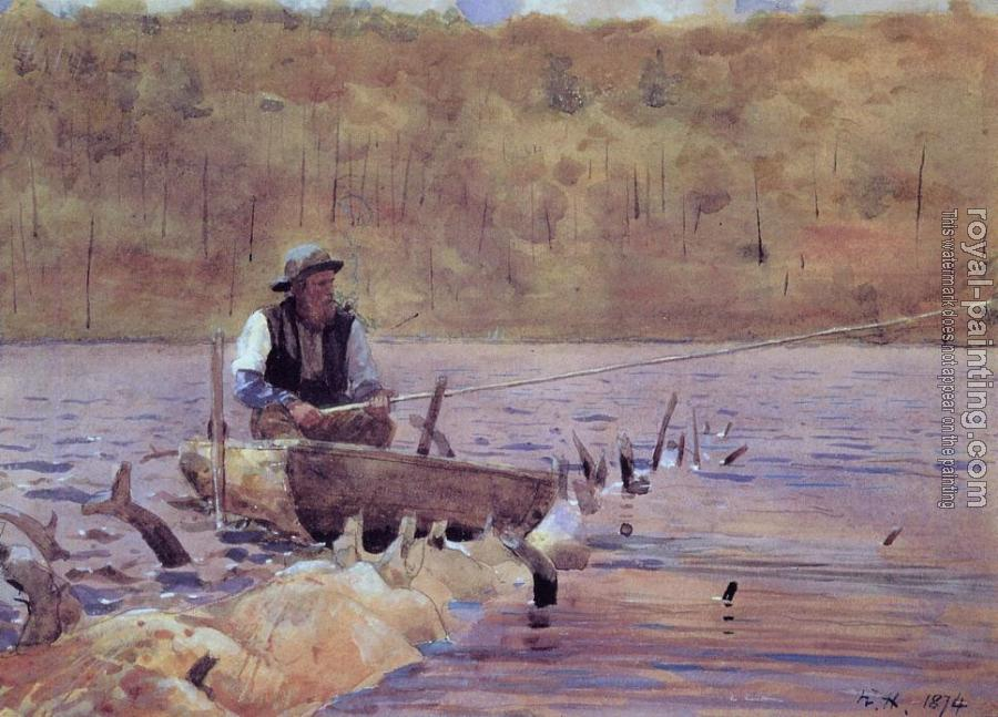 Winslow Homer : Man in a Punt, Fishing