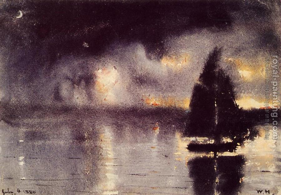 Winslow Homer : Sailboat and Fourth of July Fireworks