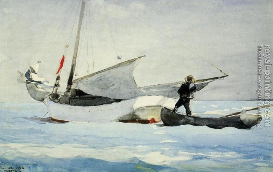 Winslow Homer : Stowing the Sail
