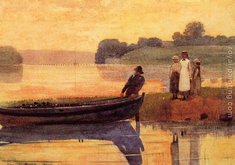 Winslow Homer : Sunset, Beaching the Boat