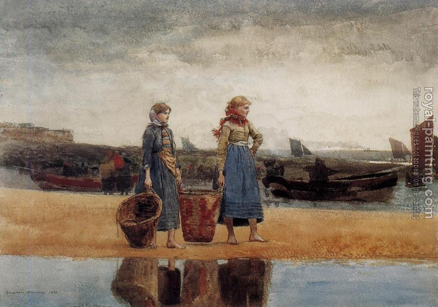 Winslow Homer : Two Girls at the Beach, Tynemouth