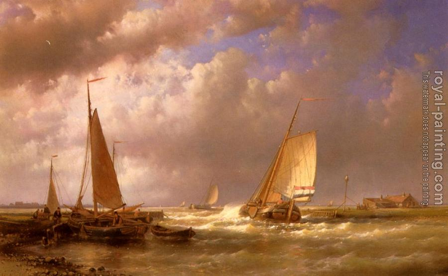 Abraham Hulk : Dutch Barges At The Mouth Of An Estuary