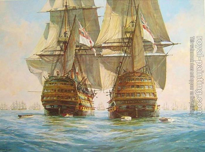 Geoff Hunt : Victory races Temeraire for the enemy line, Trafalgar, 21st October 1805