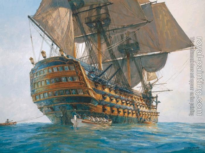 Drawing Lines With Oil Paint : Hms victory gun ship by geoff hunt oil painting