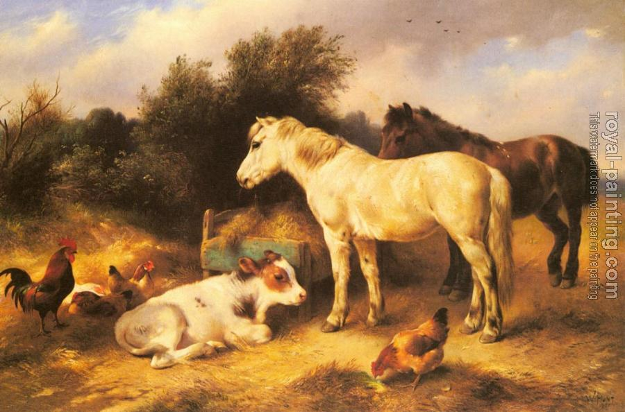 Walter Hunt : Ponies, A Calf and Poultry In a Farmyard