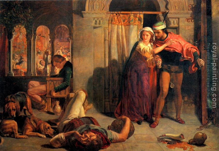William Holman Hunt : The flight of Madeline and Porphyro during the Drunkenness attending the Reve