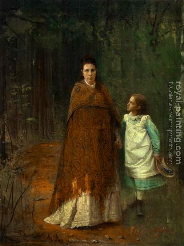 Ivan Nikolaevich Kramskoy : In the Park, Portrait of the Artist's Wife and Daughter