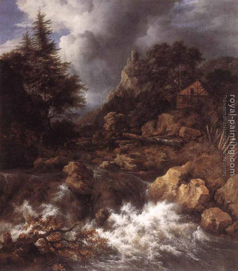 Jacob Van Ruisdael : Waterfall In A Mountainous Northern Landscape