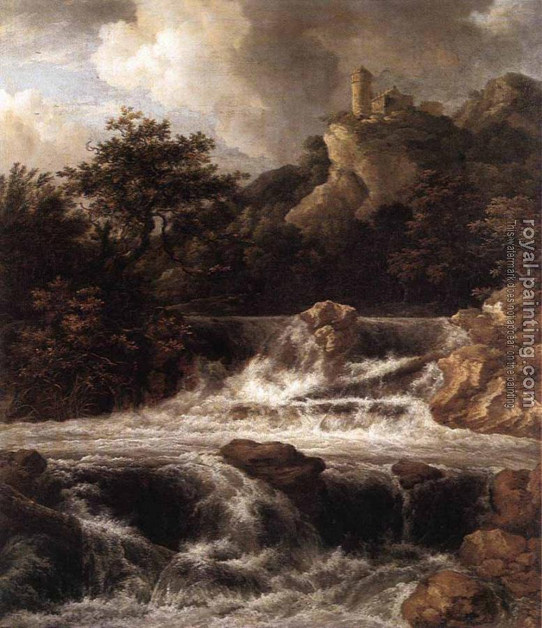 Jacob Van Ruisdael : Waterfall With Castle Built On The Rock