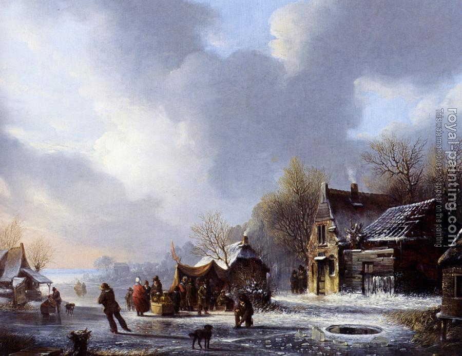 Jacobus Van Der Stok : Skaters On A Frozen River Near A koek En Zopie