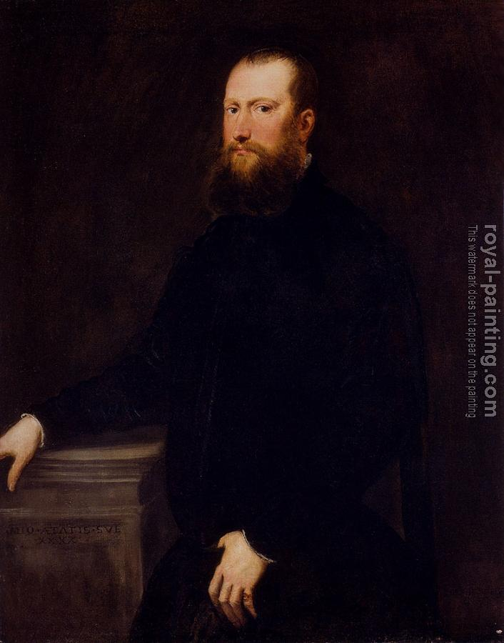 Jacopo Robusti Tintoretto : Portrait Of A Bearded Venetian Nobleman