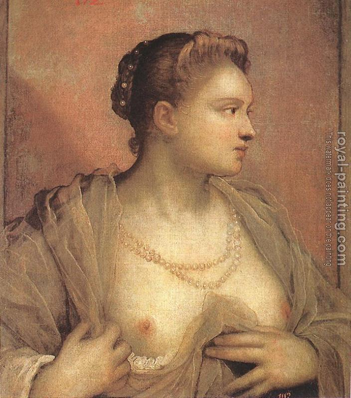 Jacopo Robusti Tintoretto : Portrait of a Woman Revealing her Breasts