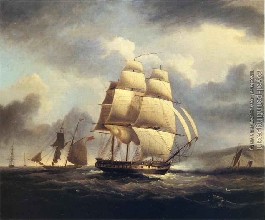 James E Buttersworth : Frigate on the Thames