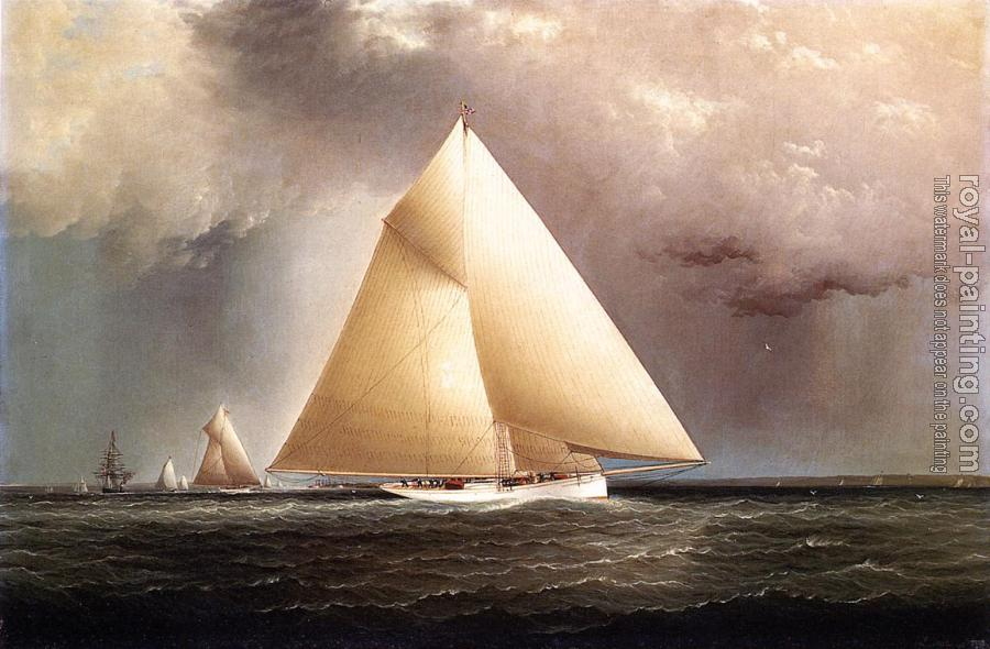 James E Buttersworth : Gracie, Vision and Cornelia rounding Sandy Hook in the New York Yacht Club Regatta