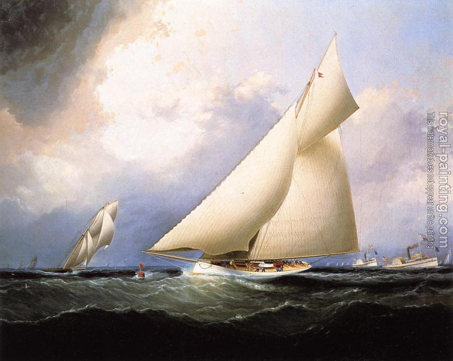 James E Buttersworth : Puritan Leading Genesta, America's Cup
