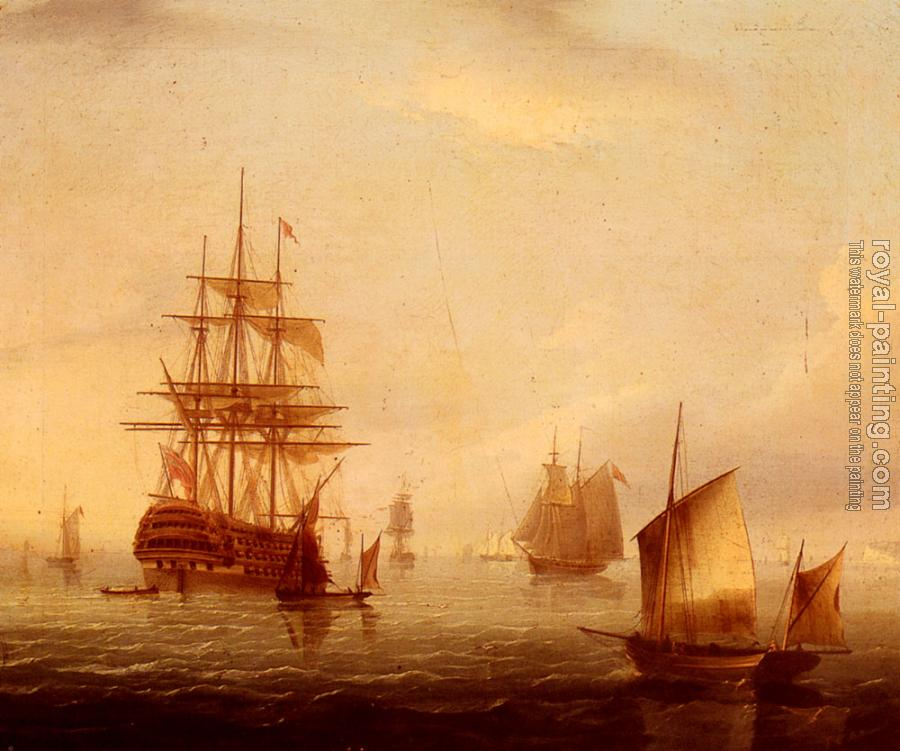 James E Buttersworth : Sailing Vessels Off A Coastline